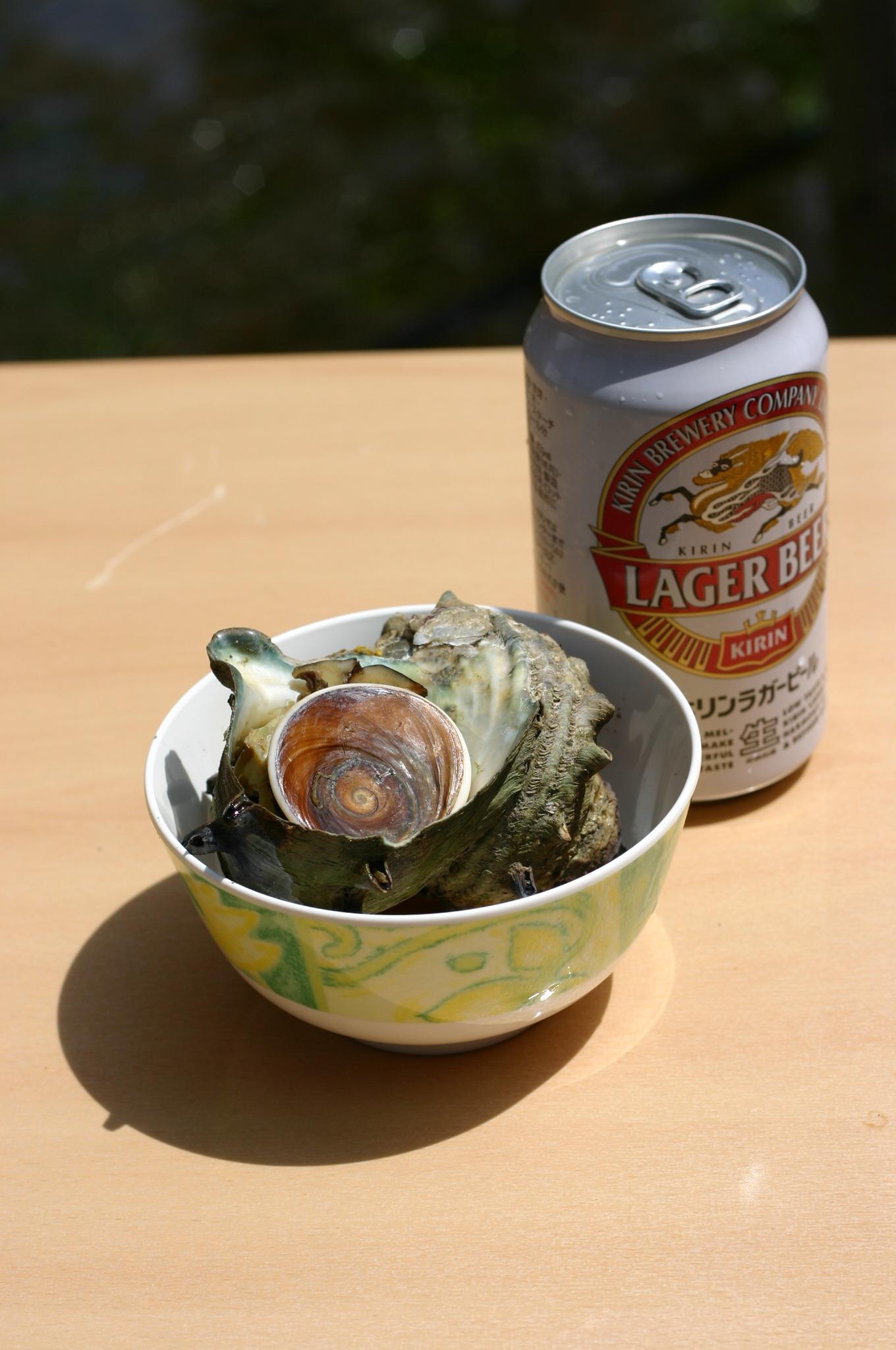 江ノ島でいただいたサザエとビール